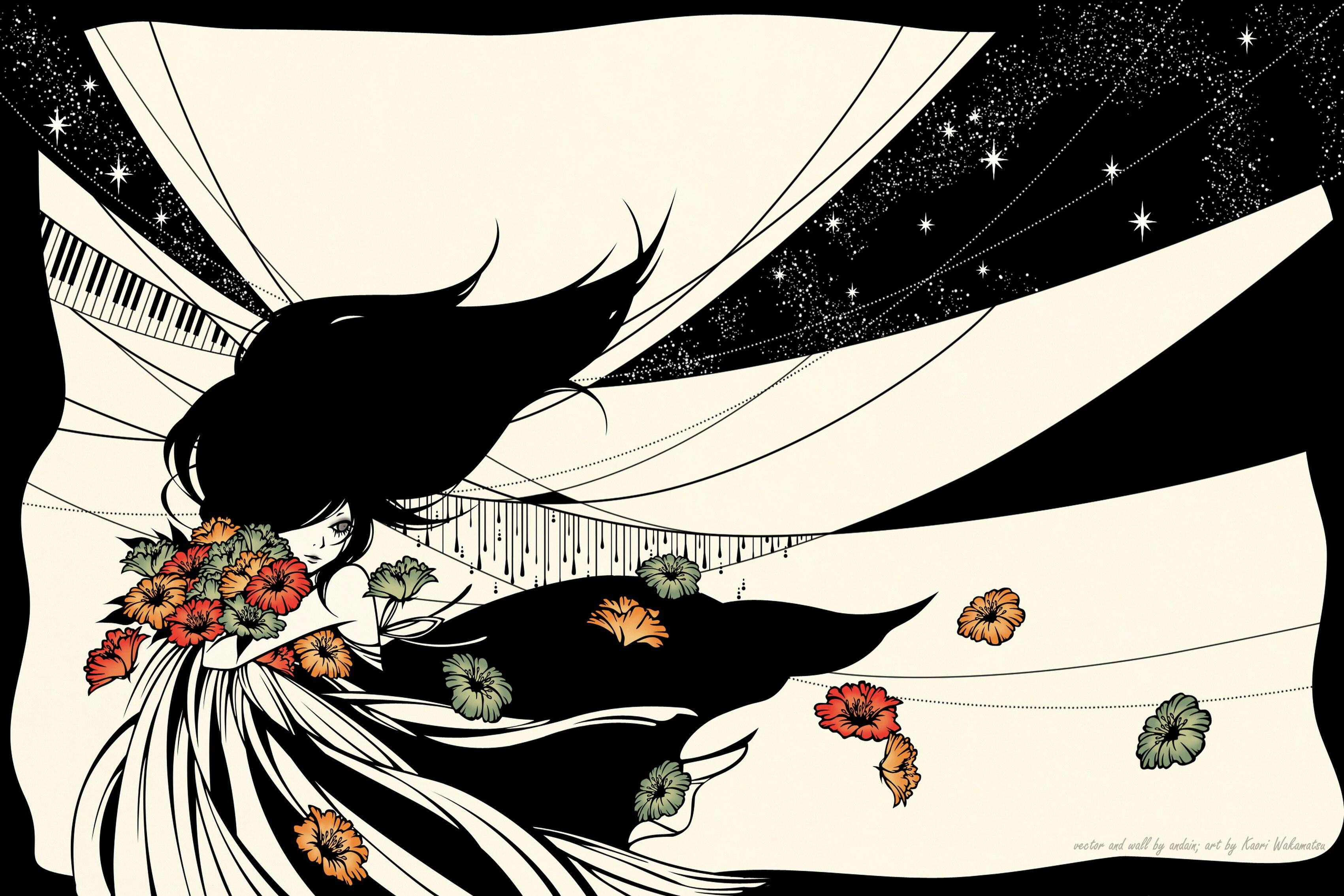 Украшение дома Каори вектор Книги по искусству цветы девушка шелк Ткань плакат печать dm678