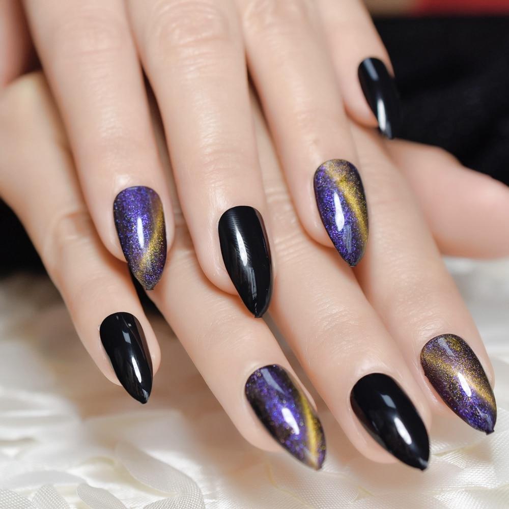 Nails Purple Black Pearlescent Cat