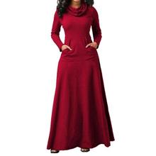 Ciepły wysoki kołnierz długa maksi sukienka kobiety z długim rękawem jesień zima sukienka 2019 odzież damska kieszeń moda sukienek tanie tanio hengsong CN (pochodzenie) Poliester COTTON Proste Osób w wieku 18-35 lat Dress Golfem Pełna REGULAR Kieszenie Na co dzień