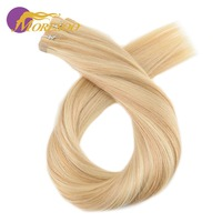 Moresoo Tape in Human Hair Extensions Ombre Color Real Remy Brazilian Hair Seamless Skin Weft Double sSided Hair Tape 10PCS 25G