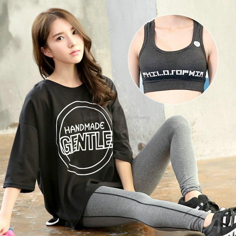 Dámská souprava na jógu (prodyšné polo rukávy a push up sportovní podprsenky a kompresní kalhoty) Quick Dry Big Girl Workout Wear Suit