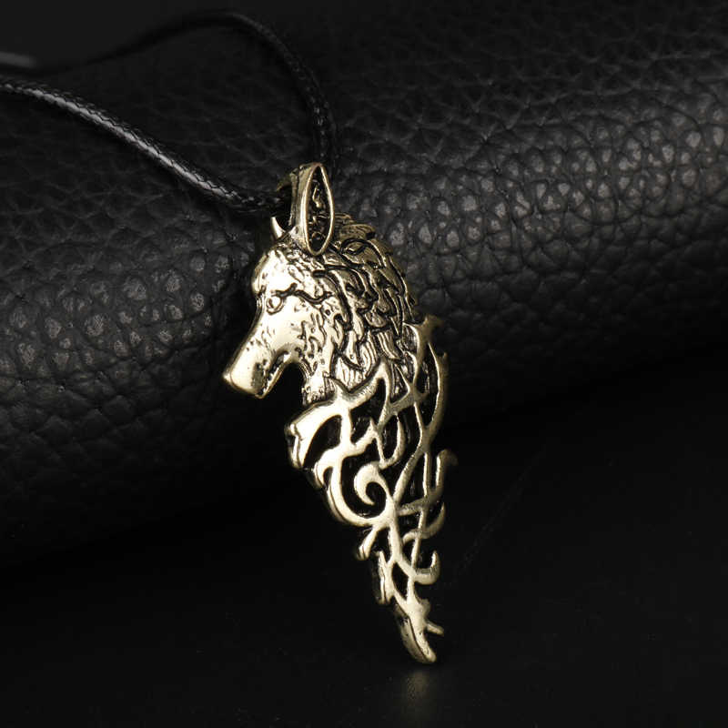 Hombre mujer Vintage accesorios joyería Viking Fenrir Lobo cabeza collares Cordón de cuero colgantes y collar