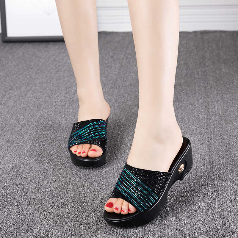 Rhinestone Middle-aged Lady Leather Wedge Slippers Plus Size 40 41 Mother Cool Slippers And Sandals Fashion Woman Summer Shoes
