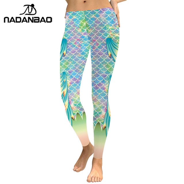 NADANBAO Summer Style Scale Women leggings 3D Printed Mermaid  Plus Size Leggins Gradient Workout Leggins Pant Legging 8