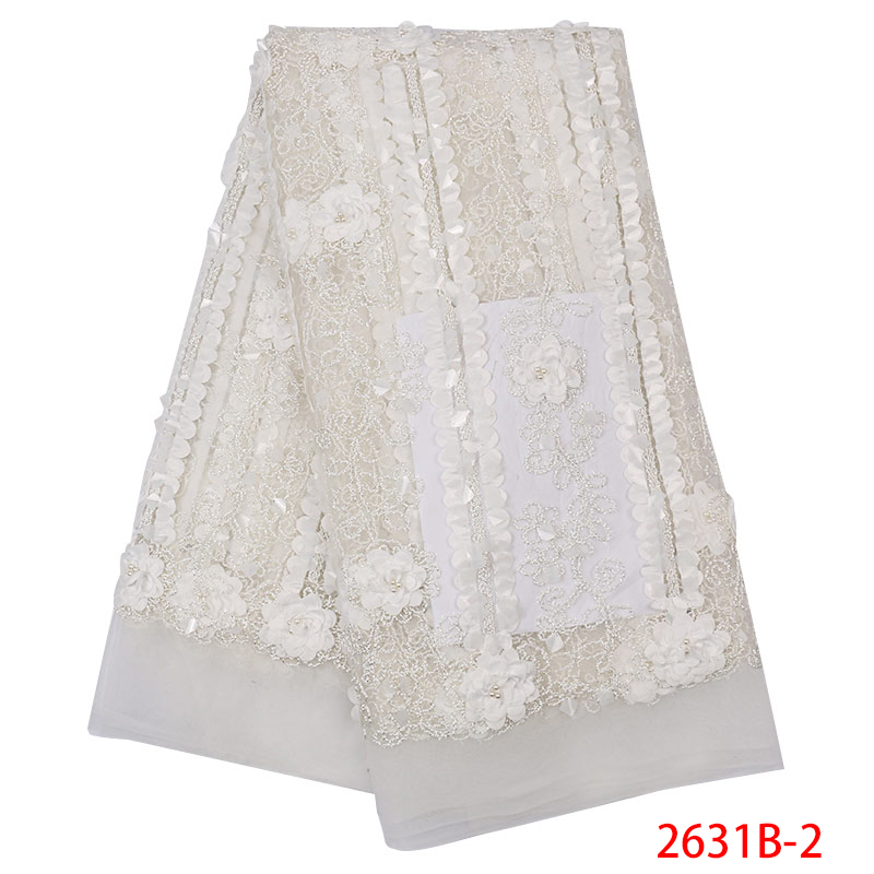 African Lace Fabric 2019 High Quality 3D Flower Lace Fabric With Beads Sequins Beautiful Applique Laces For Wedding KS2631B-2
