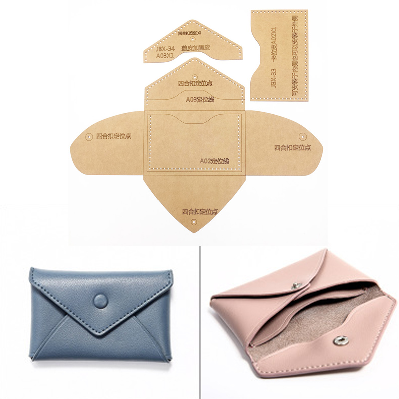DIY cuero tarjeta bolsa monedero costura patrón duro Kraft papel ...