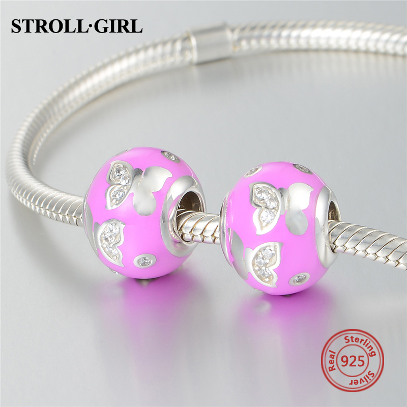 High Polishing 925 Sterling Silver Original Butterfly Enamel With CZ Beads Fit Authentic pandora Charm Bracelet Fashion Jewelry