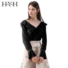 HYH HAOYIHUI Women Casual Sexy Velvet Frill Shirt Wrap Ruffles Tops Preppy Vintage V Neck Long Sleeve Tie Veins Female Shirt недорого