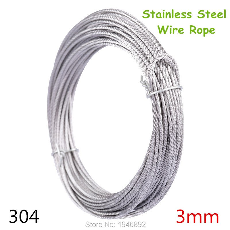 10m/lot 3mm High Stainless Steel Wire Rope Tensile Diameter 7X7 Structure Cable Gray 7x19 structure 5mm high tensile 5mm diameter aisi 304 stainless steel wire rope cable