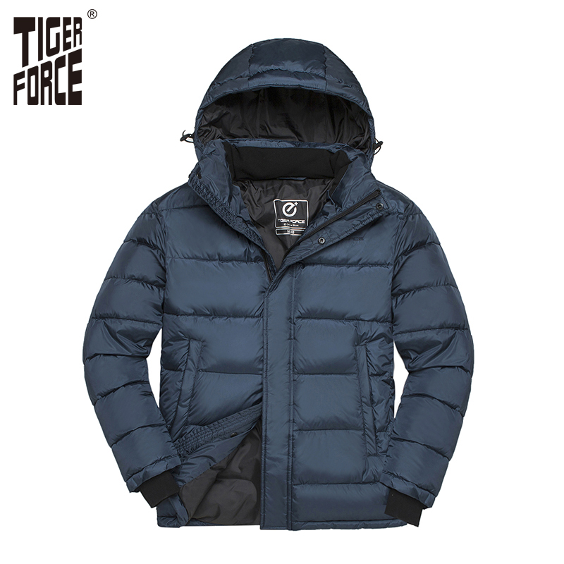 TIGER FORCE 2018 Winter Men Jacket Male Padded Coat Mens   Parka   Spring Autumn Warm Jacket Men Casual Hooded Jackets Outerwear