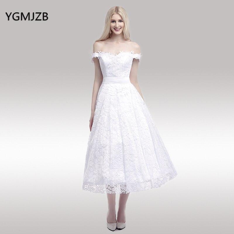 Elegant Off The Shoulder Short Lace Wedding Dress 2018 A Line Tea Length Bride Dresses Bridal Gown Plus Size