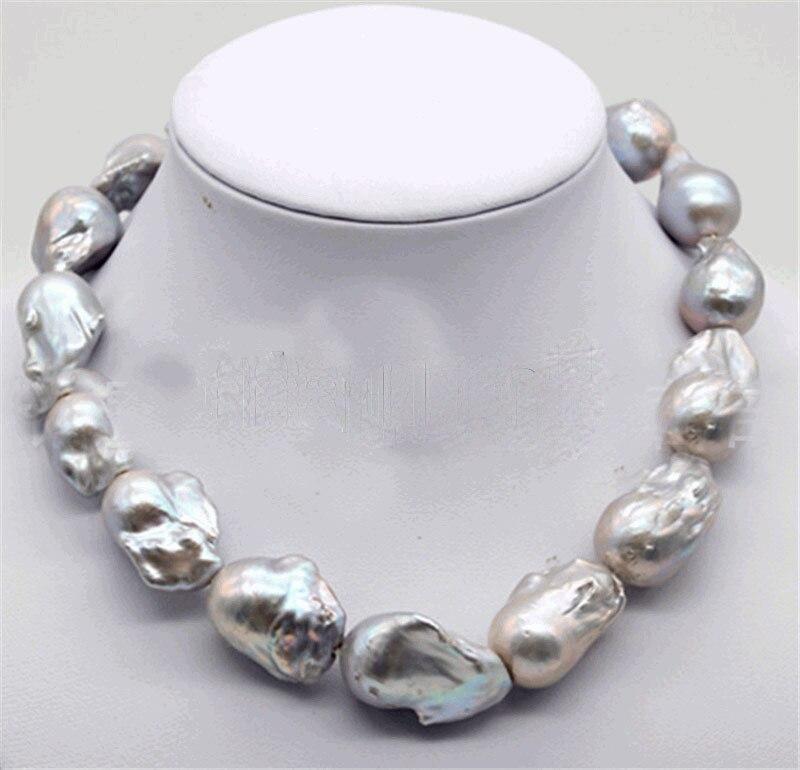 Новое поступление огромный 20 30 мм серый ЮЖНОГО МОРЯ жемчуг барокко ожерелье