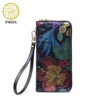 PMSIX 2017 New Cowhide Ladies Genuine Leather Wallets Embossed Flower Wristlet Phone Wallet Women Designer Evening
