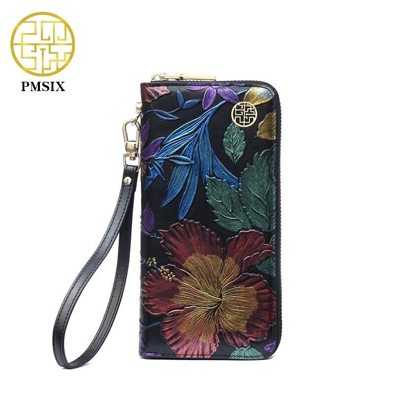 PMSIX 2019 Novas Senhoras de Couro Carteiras de Couro Genuíno Em Relevo Flor Pulseira de Telefone Carteira Mulheres Sacos de Noite do Desenhador P410018