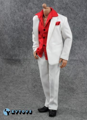 "NEW STYLE 1/6 Male White Suit Set & Red Shirt Clothing ZY Model Toys For 12"" Action Figure Body Accessory"