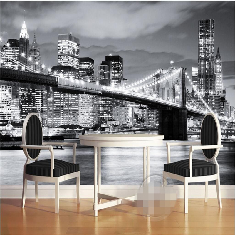 Beibehang Wallpaper Mural Wall Sticker New York Bridge Europe And America City Scenery Black And White Landscape Mural