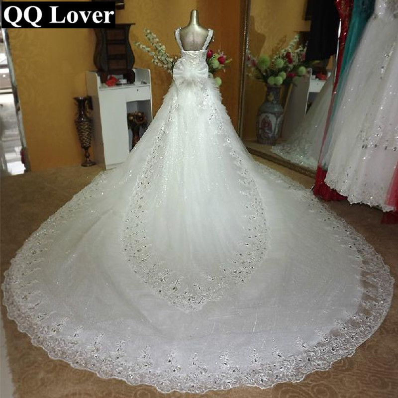 QQ Lover 2019 The Latest Top Luxury Crystals Beaded Big Train Cut-out Lace Wedding Dress Bridal Gown Vestido De Noiva