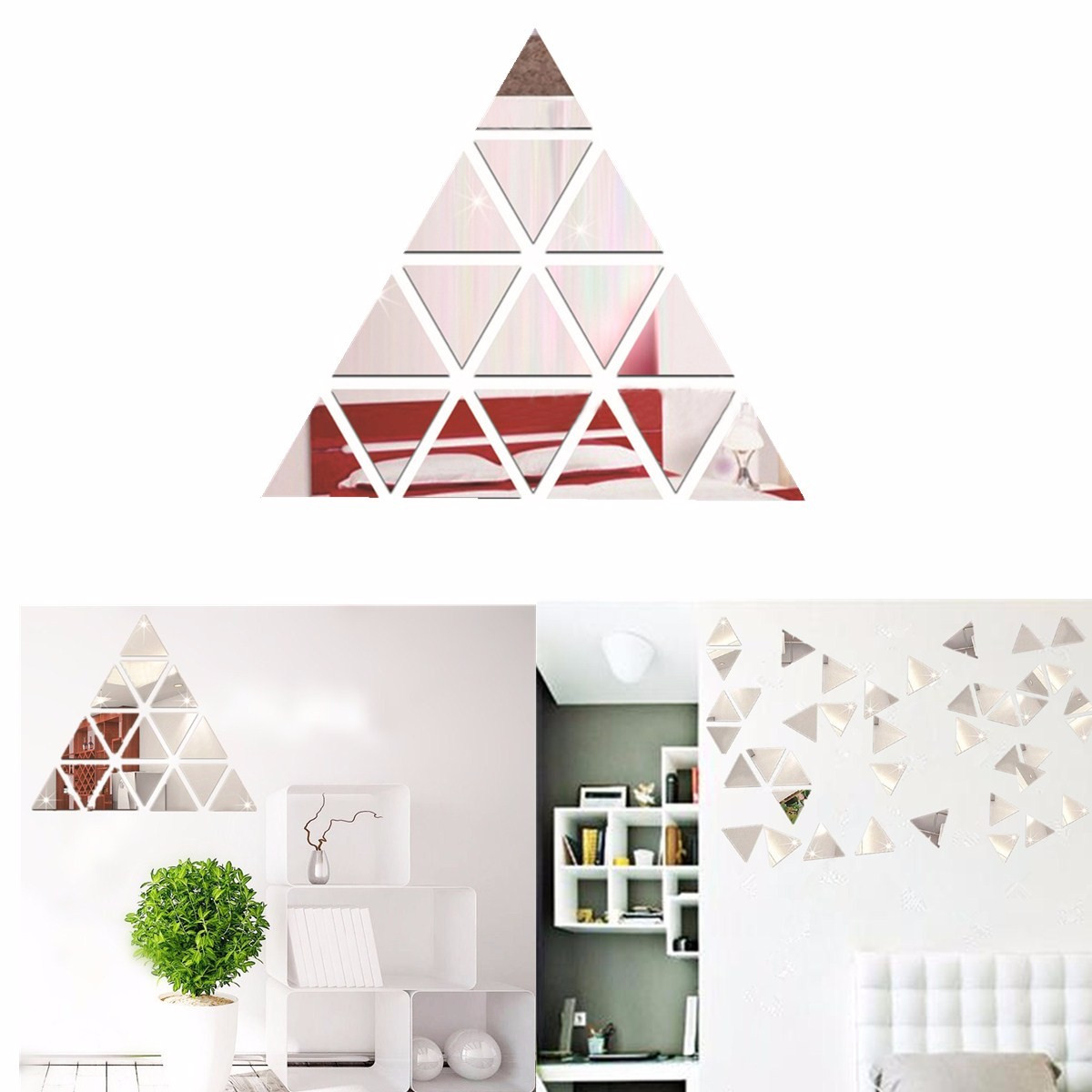 HOT!!!Triangle DIY Removable Vinyl Mirror Wall Stickers Decal Mural Home Office Bedroom Kids Room Dormitory Decoration