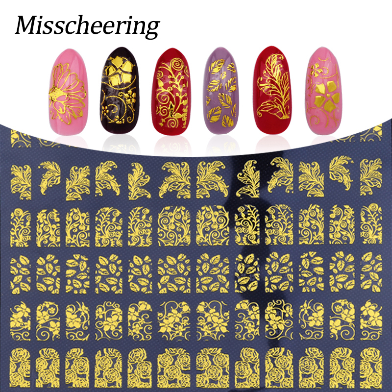 New Gold 3D Nail Stickers,108pcs/sheet Metallic Adesivos Mix Designs Flowers Nail Decal,Beauty Creative Nail Art Decoration