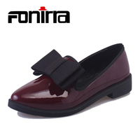 FONIRRA Classic Brand Shoes Women Casual Pointed Toe Black Oxford Shoes Slip On Loafers Fashion Patent