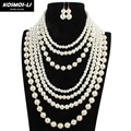 Pearl Layer Necklace New Fashion Plastic Imitate Pearl Beads Maxi Collier Statement Strand Necklace For Women Party Jewelry 6880