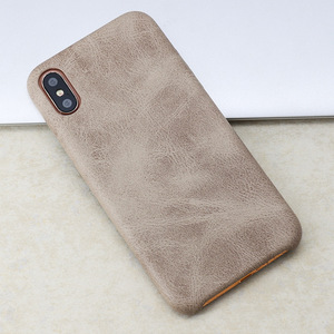 Image 5 - 50PCS PU Back Leather Case For iPhone X 6 6s 7 8 Plus Retro Case Cover For iPhone 8 Simple Phone Shells