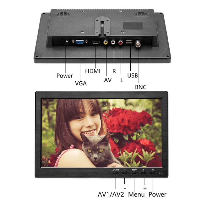 """Podofo 10.1"""" LCD HD Monitor Mini TV & Computer Display Color Screen 2 Channel Video Input Security Monitor With Speaker HDMI VGA 3"""