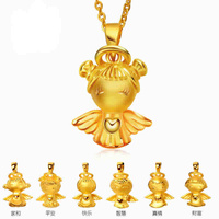 Pure 24K Yellow Gold Angel baby pendant 999 cute lovely pendant 1 pieces 2 3g Hot sale