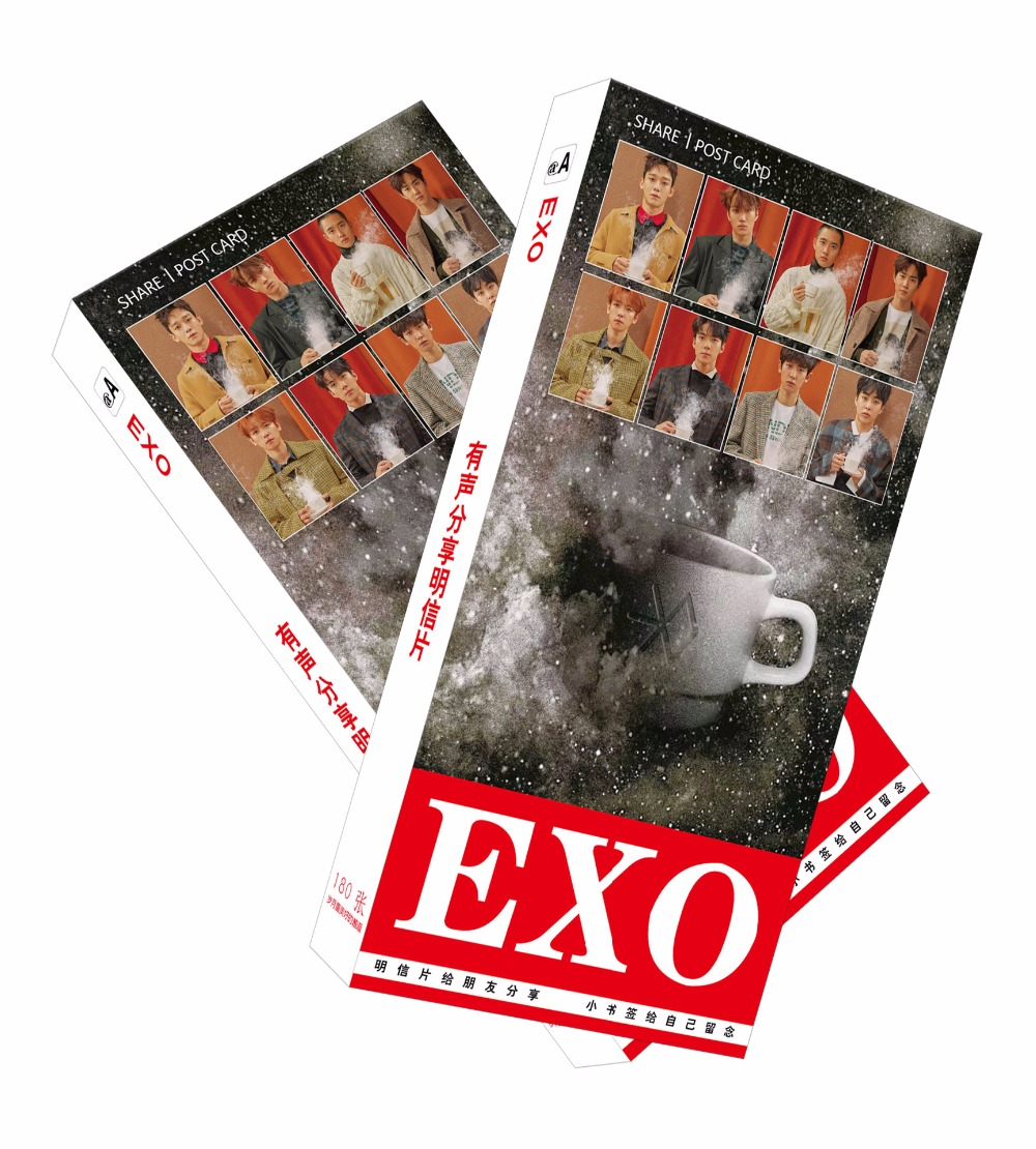 180pcs/Set Korean EXO Paper Postcard/Greeting Card/Message Card/Christmas and New Year gifts 30pcs in one postcard owe you a song romantic love christmas postcards greeting birthday message cards 10 2x14 2cm