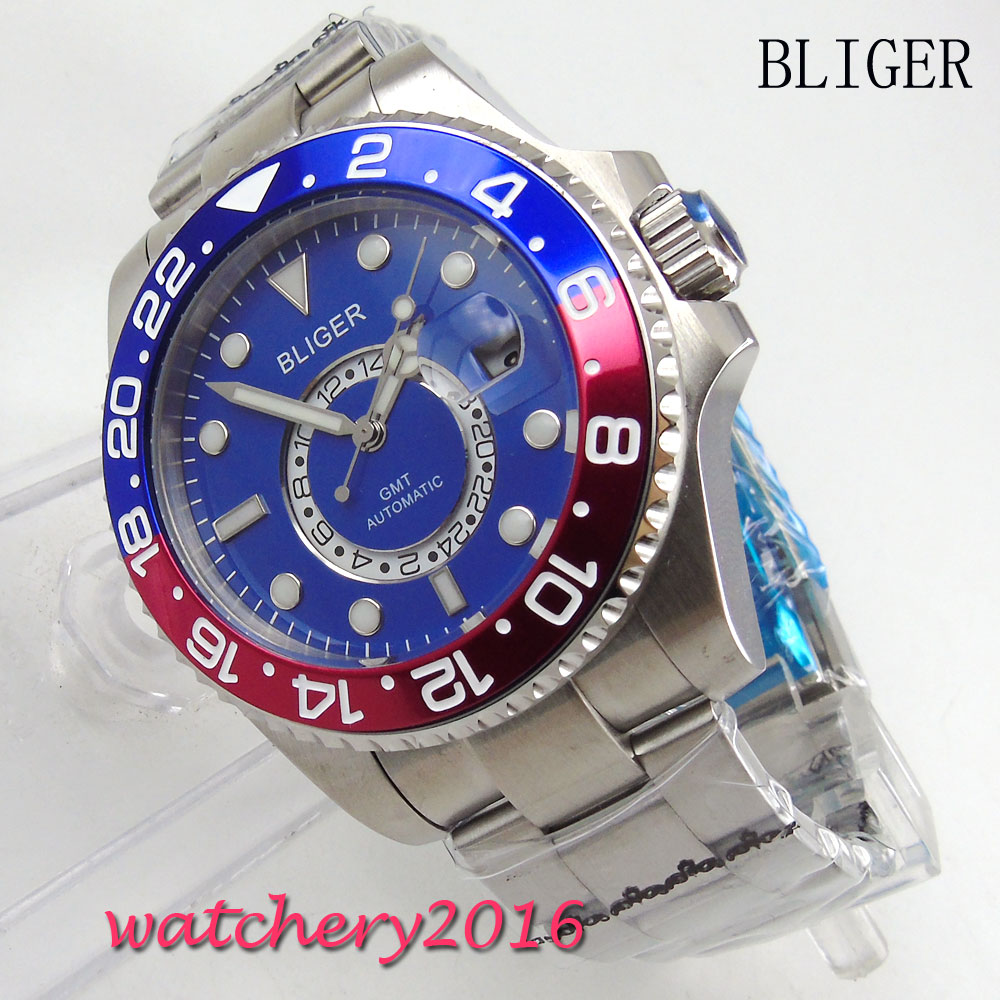 43mm BLIGER blue dial Luminous Marks Deployment Buckle NEW GMT Sapphire Crystal Automatic movement mens Mechanical Wristwatches43mm BLIGER blue dial Luminous Marks Deployment Buckle NEW GMT Sapphire Crystal Automatic movement mens Mechanical Wristwatches