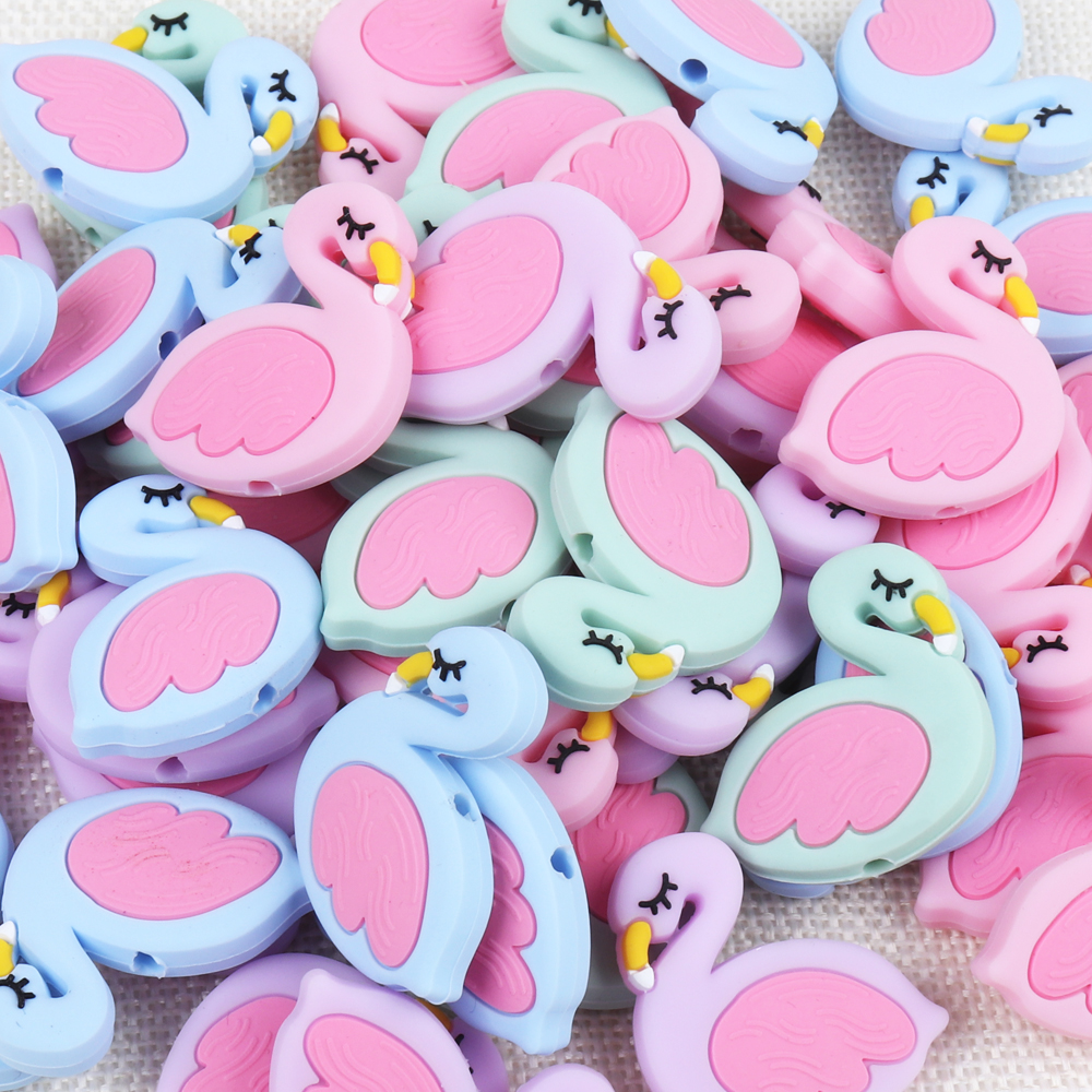 TYRY.HU 1pc Flamingo Silicone Beads Baby Teething Rings Making Food Grade Silicone Perle Chew Necklace Teething Toys Accessories
