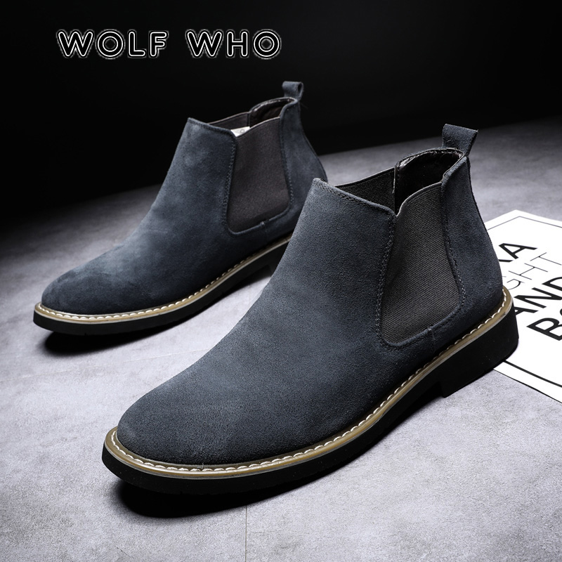 WOLF WHO New Arrival Luxury Brand Men High quality Chelsea Boots Male Warm Genuine Leather Casual Ankle Boots buty meskie X-198 image
