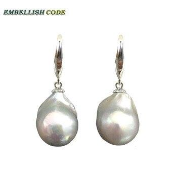 1dec69dc3800 Lii Ji piedras preciosas Natural aguamarina roca piedra de agua dulce  barroca Keshi perlas 925 Plata de ley pendientes de gota de Color oro