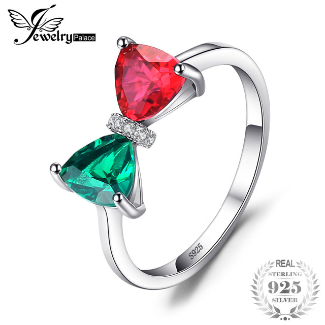 JewelryPalace Bow 1.8ct Trillion Cut Green Nano Russian Simulated Emerald Red Cr