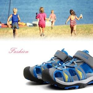 Image 5 - JACKSHIBO ילד סנדלי קיץ חוף ילד סנדלים לילדים סנדלי קרוב הבוהן נגד החלקה מגזרות חיצוני מים בני נעליים