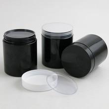 20 x пустых 250 г черные пэт банки с черно-белыми пластиковыми винтами пластиковые крышки 250 мл 8,33 унций контейнер для крема с полиэтиленовой накладкой