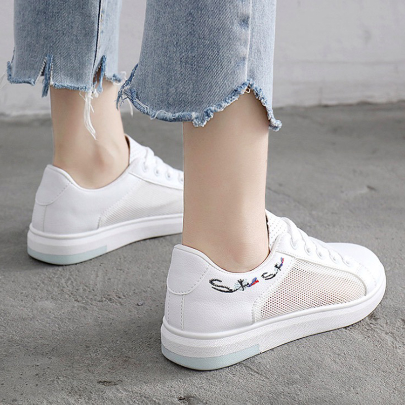 Women Casual Shoes Summer 2018 Spring Women Shoes Fashion Embroidered Breathable Hollow Lace-Up Women Sneakers new women s vulcanize shoes spring summer slip on sneakers black casual shoes women breathable hollow out woman sneakers