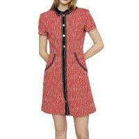 Autumn dress 2019 patchwork casual dress short sleeve pink dress wool womens clothing slim dress women vestidos