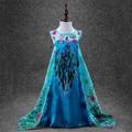New Design Flower Princess Anna Elsa Dress Cosplay Custom Kids Princess Vestidos Dress Sequined Cotton Baby Girls Dress Children