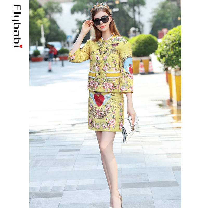 High Quality Sequined Jacquard Golden yellow Red heart print Button Fly short coat Above Knee, Mini Half skirt Women's Sets 2018