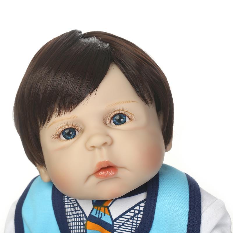 Us 135 9 Npk 56cm Reborn Dolls Full Body Silicone Rebron Babies Boy Black Hair Blue Eyes Doll Baby Newborn Bonecas Bebe Gift In Dolls From Toys