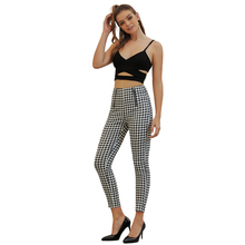 JYSS autumn streetwear black white plaid pants women zipper decoration a little elastic long slim trousers women pants 50057 jyss autumn new casual elastic waist pants women belt yellow gray plaid pants long straight trousers women active wear 81221