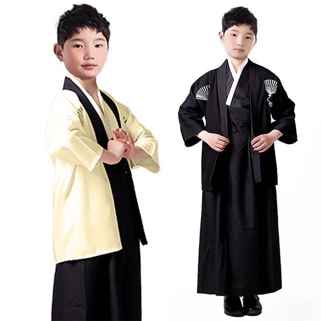 Kids Kimono Costumes Japanese Samurai Hakama Uniform Kendo Bushi Swordman Roleplay Formal Robe Halloween Fancy