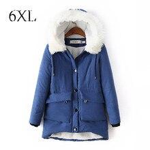 6 Extra Large Женская зимняя куртка Тонкий стеганая куртка в Корейском стиле с капюшоном меховой Куртка с воротником длинные участки кашемировое пальто большой размер
