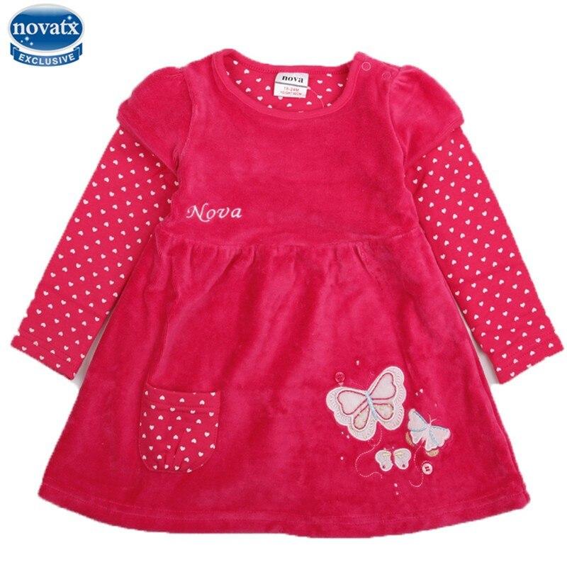 2 colors nova kids clothing cartoon dresses hot selling kids winter dresses baby dress Shear plush