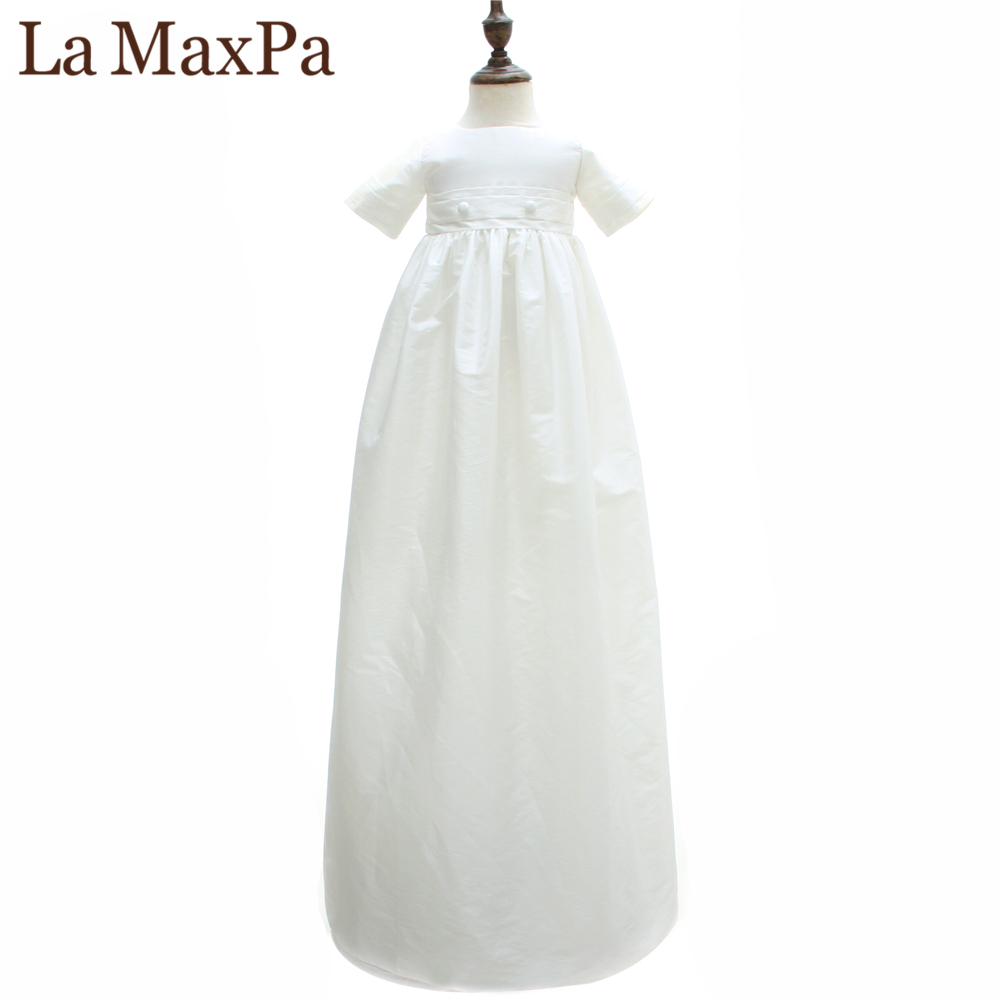 La MaxPa Newborn Baby Girl Boy White Cotton Baptism Dress With Cap Infant Birthday Party Long Baptism Robe Children Clothes New