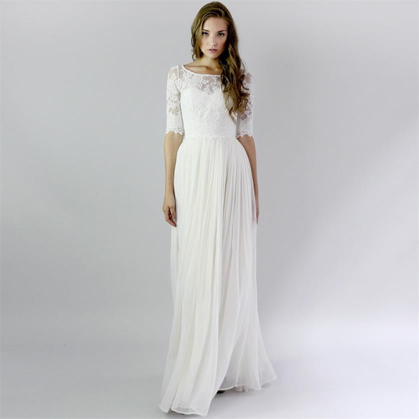 Summer Vintage Wedding Dresses: 2019 Hot Summer Vintage Half Sleeve Beach Wedding Dresses