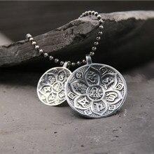 Handmade 925 Sterling Silver Tibetan om mani padme hum Pendant Lotus Jewelry
