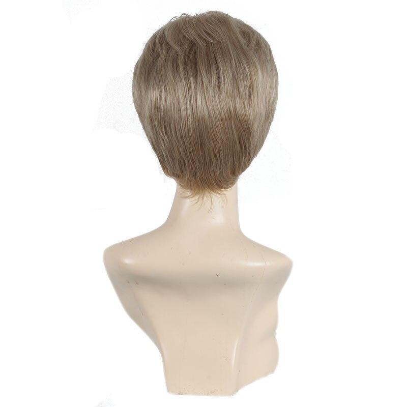 Kvinnlig Charmig Kort Rett Syntetisk Paryk för Svarta Kvinnor Blond - Syntetiskt hår - Foto 3