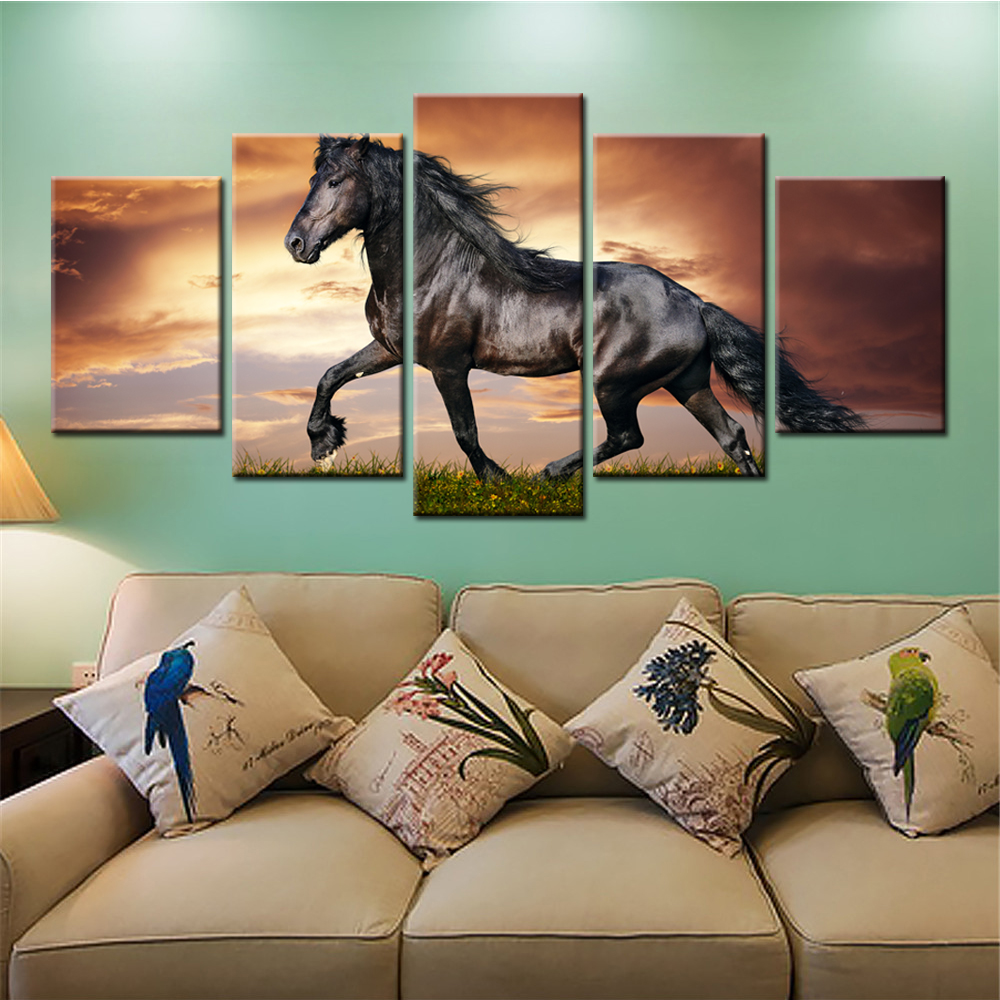 5 Pieces Unframed Home Decor Wall Pictures Running Horses Sunset Wall Decorative Painting Canvas Art Prints for Living Room